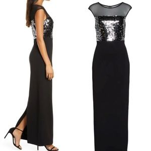 Vince Camuto Sequin & Mesh Bodice Column Gown 8